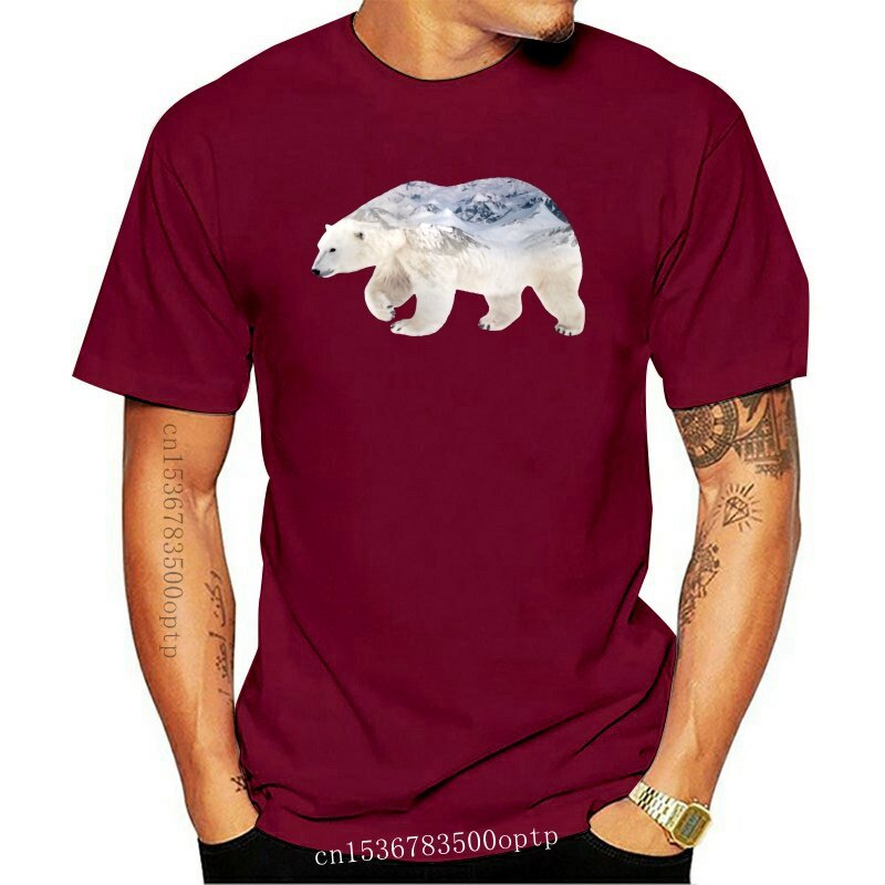 جديد التوضيح الطبيعي الدب القطبي تي شيرت روسيا الرجال التي شيرت الوحش الحياة البرية تي شيرت للرجال الشباب رجل الملابس قميص