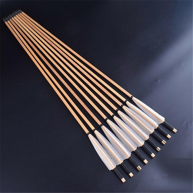 أسهم خشبية مصنوعة يدويًا ، 12 قطعة ، 30 بوصة (80 سنتيمتر مع ريش ديك رومي أبيض ، 25-50 رطل ، قوس منحني ، صيد ، سهم خشبي للرماية