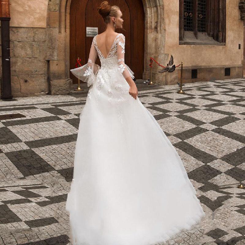 فساتين زفاف بلا ظهر من Thinyfull برقبة على شكل حرف V فساتين العروس من التل دانتيل زينة Vestido De Novia 2020