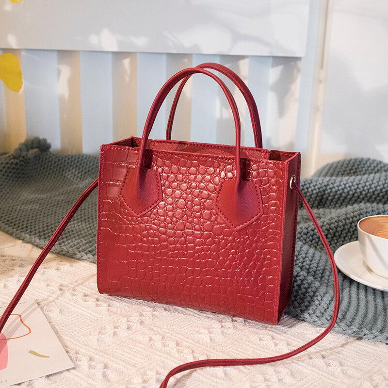 2021 شعبية الإناث جيب القياسية التمساح حقائب تسوق بخمر تقاطعية الكلاسيكية الصلبة نمط السيدات حقائب الكتف