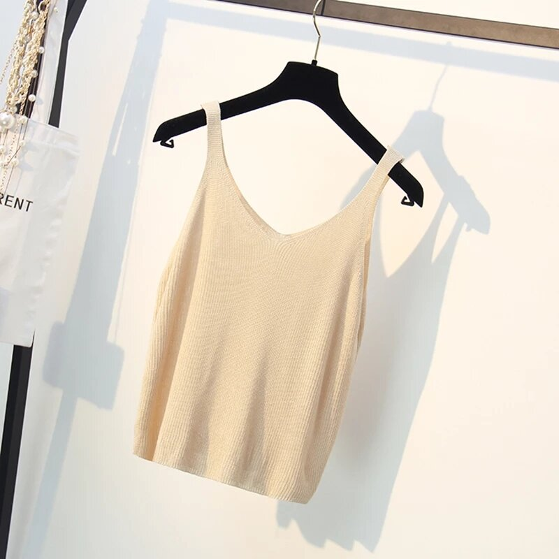 سوبر لينة القطن محبوك تانك القمم المرأة الصيف بروتيل الصدرية بسيطة فضفاضة السيدات الخامس الرقبة مثير Strappy المحملة A-034