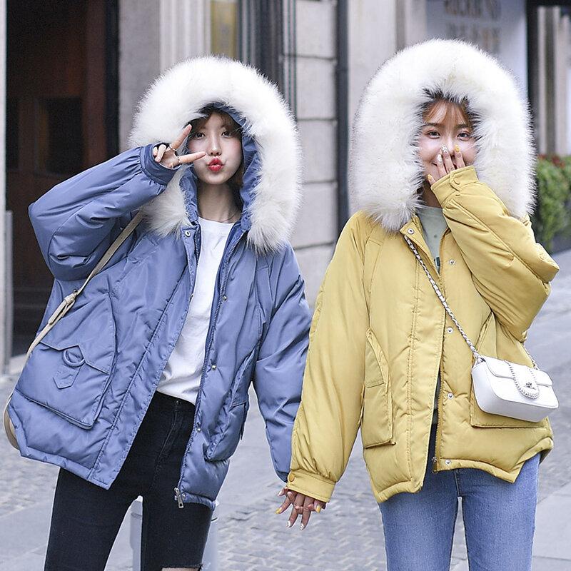 جواكت شتوية نسائية ومعاطف 2020 باركاس للنساء 6 ألوان سترات محشوة ملابس خارجية دافئة مع غطاء محرك السيارة ياقة كبيرة من الفرو الصناعي