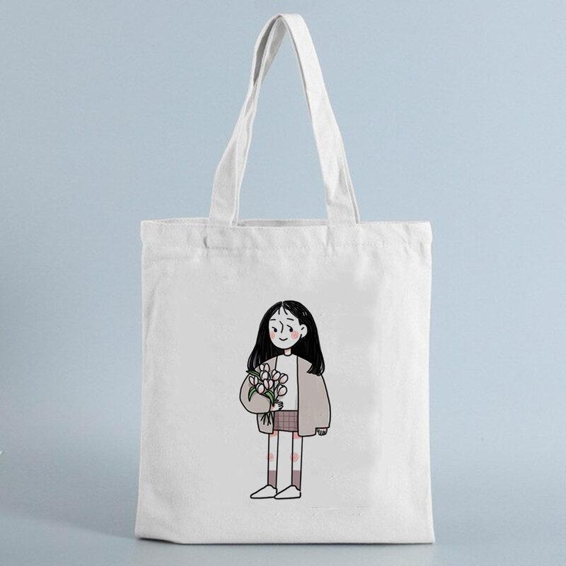 شخصية كرتونية المرأة قماش حقيبة تسوق قابلة لإعادة الاستخدام المتسوق حقيبة يد السفر ايكو حمل حقائب كبيرة قماش حقيبة كتف للسيدات