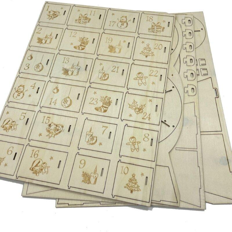 LX9C الجدة عيد الميلاد خشبية صندوق تخزين تقويم القدوم مع عدد العد التنازلي عطلة الحلي المنظم للمنزل الديكورات