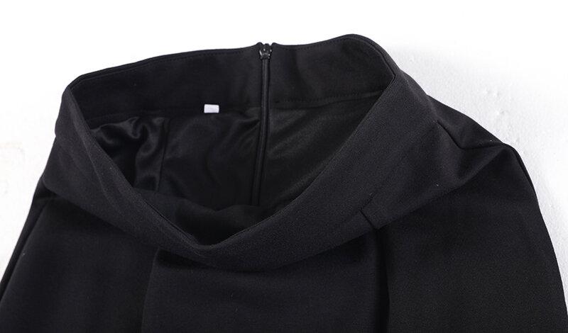 [EAM] تنورة عالية الخصر سوداء غير منتظمة أنيقة حورية البحر نصف الجسم للسيدات موضة المد جديد ربيع خريف 2021 1DE3612