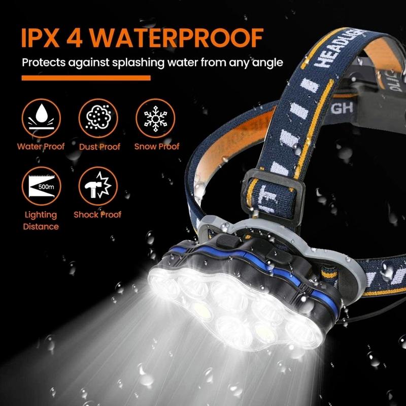 مصباح يدوي كاشف 8 طرق USB قابلة للشحن 18650 بطارية مقاوم للماء للخارجية سيارة مخيمات إصلاح الصيد التنزه فانوس