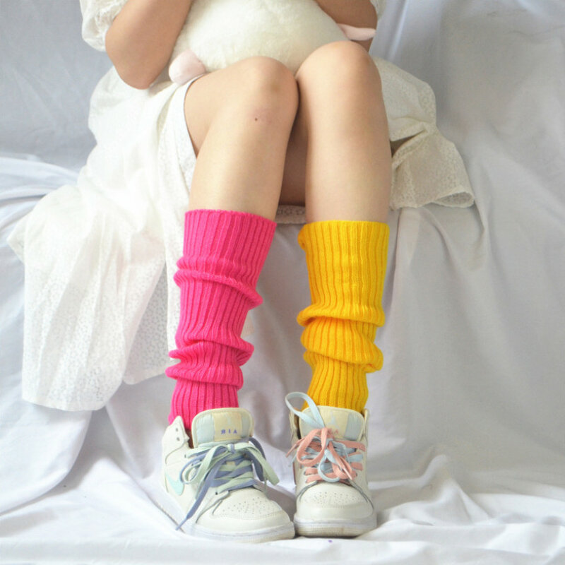 الحلو فتاة جوارب السيقان s كرة صوف محبوك غطاء للقدم النساء الخريف الشتاء جوارب السيقان الجوارب كومة كومة جوارب السيقان s اليابانية