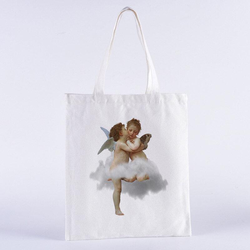 حقيبة نسائية صغيرة حقيبة موضة السفر قماش حقيبة تسوق Harajuku الملاك الإناث قماش حقيبة كتف عادية كبيرة السيدات كيس التسوق