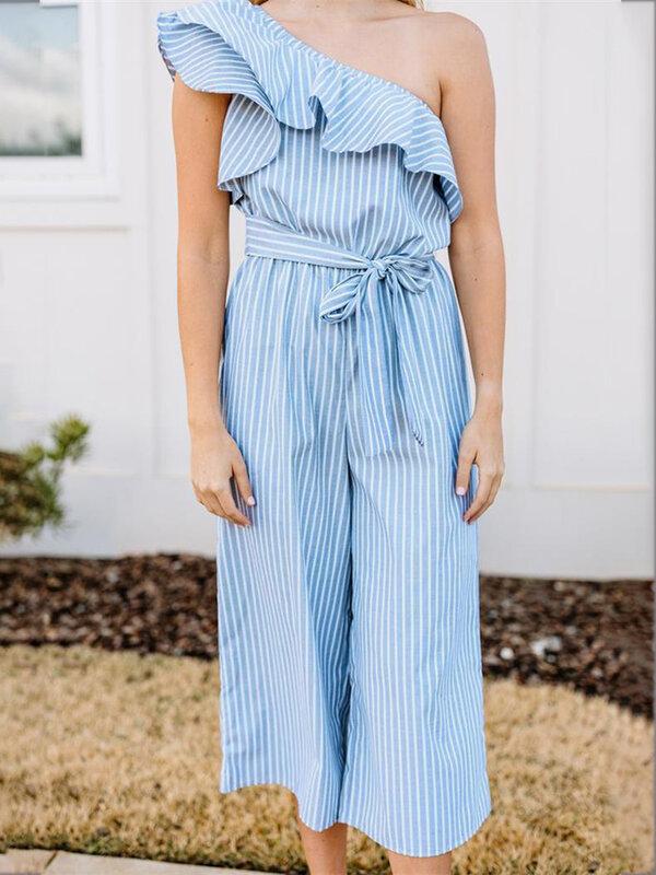 الصيف المرأة حللا و السروال القصير مخطط اللون طباعة بذلة الكشكشة مستقيم السراويل الإناث عادية ليوبارد C2699