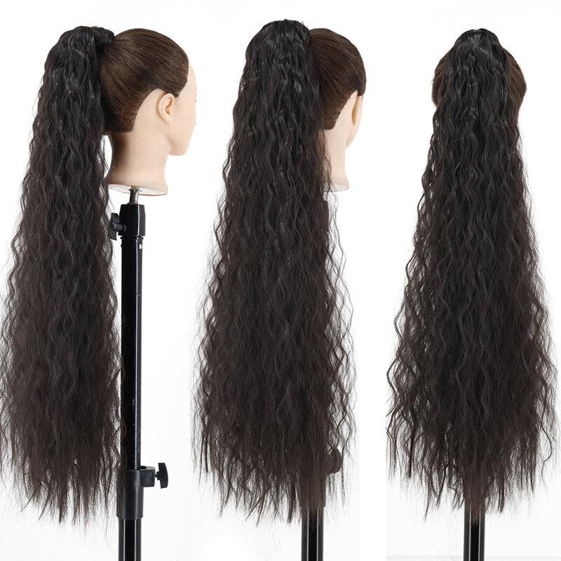 34 بوصة المرأة ذيل حصان طويل مموج وصلة شعر يتم تركيبها بمشابك في ذيل حصان التفاف حول أسود شقراء الاصطناعية ألياف مقاومة للحرارة