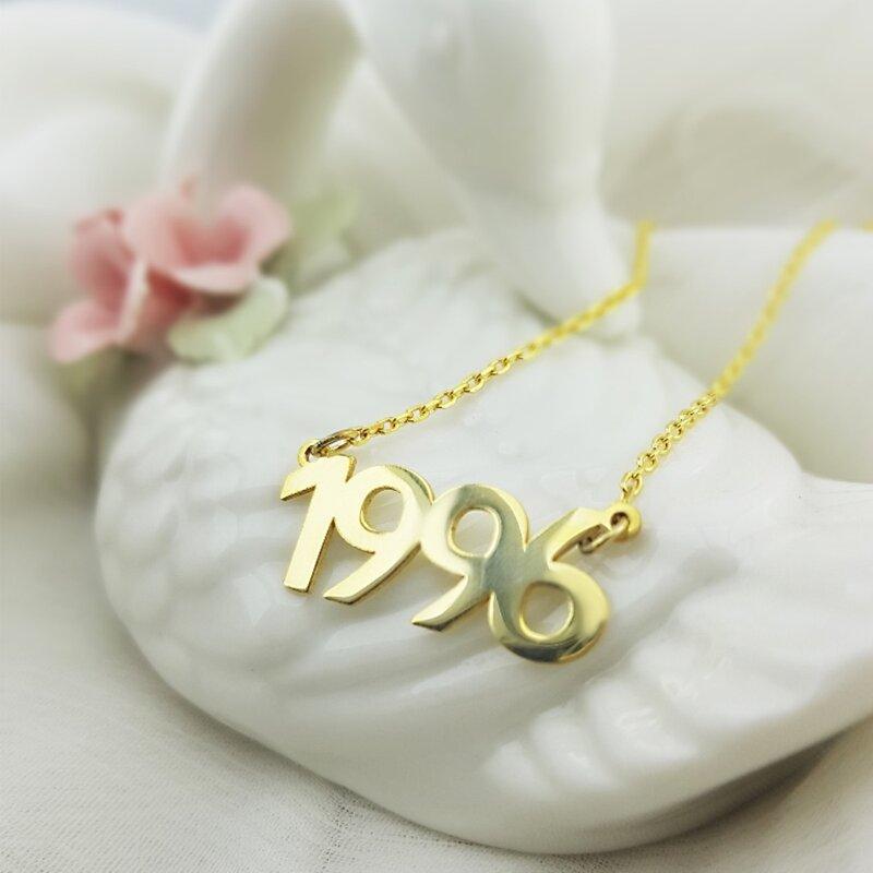 Vaoov-عقد من الفضة الإسترليني عيار 925 مع التاريخ