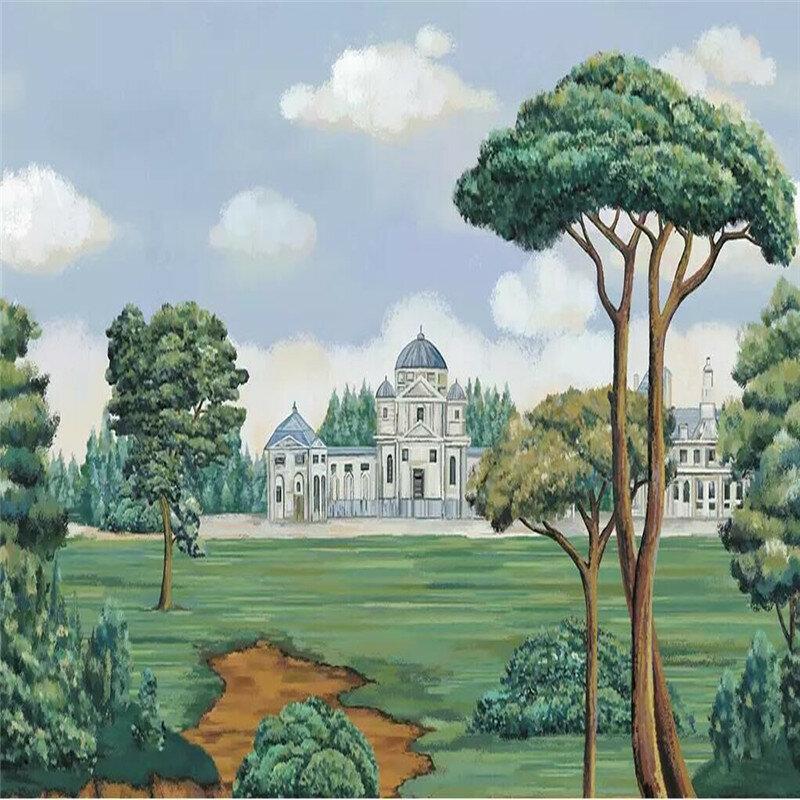 رسمت باليد الأوروبية اللوحة القلعة الغابات الجدار الديكور اللوحة مصنع الجملة خلفيات جدارية الصورة جدار