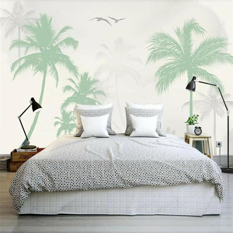 رومانسية جوز الهند شجرة النورس حائط الخلفية المهنية إنتاج جدارية الجملة خلفيات جدارية مخصص صور الحائط
